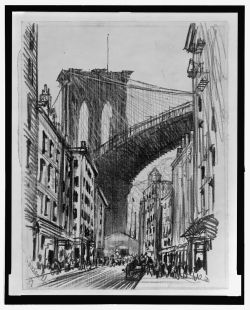 Title: Tenements under Brooklyn Bridge (Brooklyn Bridge tenements)   Creator(s): 						 				Pennell, Joseph, 1857-1926, artist   Date Created/Published:  					[ca. 1909]  Medium: 			     					   				 					1 drawing on textured cream paper : charcoal ; sheet 29.3 x 23.2 cm.  Summary: 					New York City. Diagonal view of crowded street, scribbled figures on sidewalks, wagon on street. In background, dominating scene is Brooklyn Bridge, twin arches of support showing sky beyond.