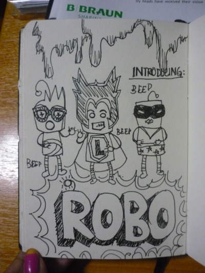 itmustbedelirium:  I'm proud to say, I'm Robo obsessed :) Read some comic books, got inspired, and ahahahaha lameness FTW.