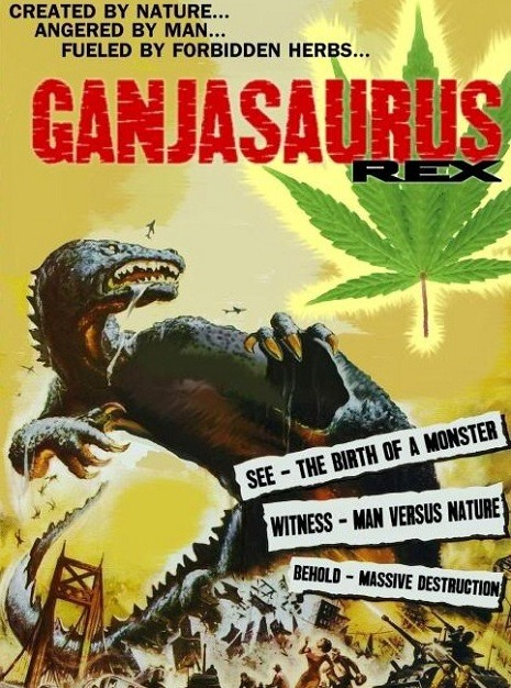 "Ganjasaurus Rex This film exists …. (via Dangerous Minds)  DEA agents burn a shitload of confiscated weed and the resulting cloud of cannabis smoke gets the attention of pothead dinosaur Ganjasaurus Rex in this stoner epic from 1987. ""Potzilla, Potzilla!""  Go to Dangerous Minds to see a clip of the movie"