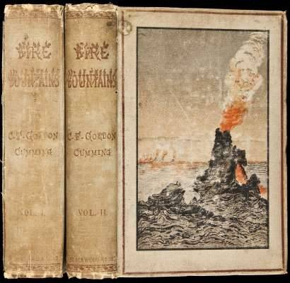 Fire Fountains: The Kingdom of Hawaii, Its Volcanoes, and the History of its Missions Cumming, C.F. Gordon.  Edinburgh, William Blackwood, 1883.  The author sailed to Hawaii in 1879, visiting Oahu, the big island, and Maui. She saw most of the sights, particularly the volcanic ones, and includes a long second-hand account of the 1880-1881 eruptions of Mauna Loa.