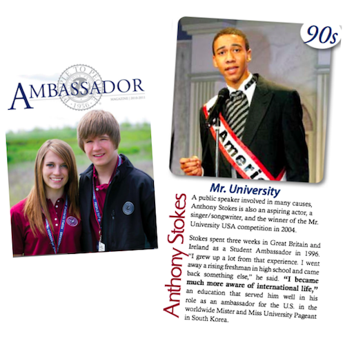 The 2011 Ambassador Magazine lists DeSean (née Anthony Stokes) as a notable alumnus and his past as Mr. University USA 2004.