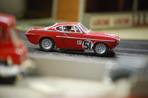 misteremjay:  Volvo P1800 Slot car  Not ST 1, but GT 51 Now being the proud owner of a red Volvo 1800S model myself, I had to reblog. This one looks especially pretty, with the chrome detailing.
