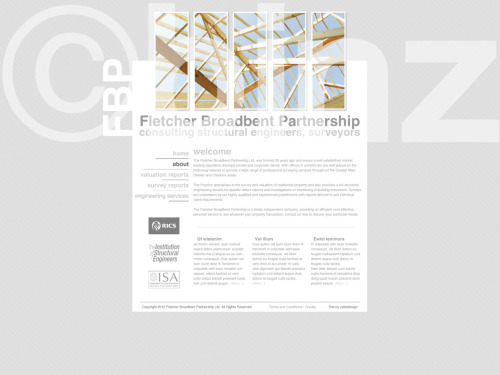 site mockup for the Fletcher Broadbent Partnership Ltd (freelance work) [©Ryan Binns, binz 2010]