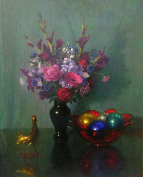 Feodor Zakarov Still Life with Flowers, Ornaments and Rooster Mid 20th century