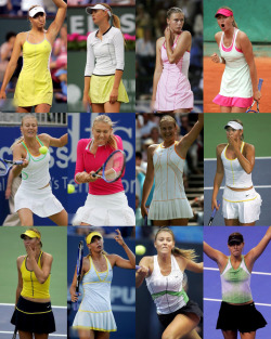 FASHION FILE: MARIA SHARAPOVA 2005 Top  Row: Australian Open, Tokyo, Doha, Indian Wells // Indian Wells // Miami, Rome  // French Open Middle Row: Birmingham // Birmingham, Berlin // Wimbledon // Los Angeles, Bejing Bottom Row:Los Angeles, Bejing // U.S. Open, Bejing // Moscow // Los Angeles (YEC)