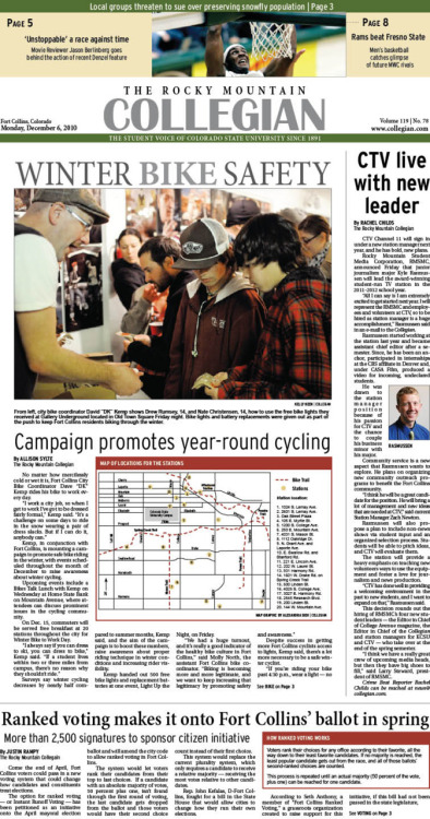 Monday, December 6, 2010. The Rocky Mountain  Collegian front page PDF. Page designed by Design Editor Alexandra Sieh.