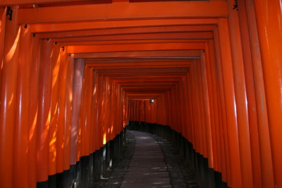 bakabecca:  Fushimi Inari Shrine, Kyoto.  You may recognise this from the film 'Memoirs of A Geisha' when she runs through several orange gates 'tori's' as a child.