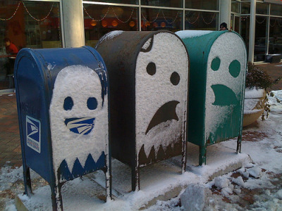 Snow ghost street art