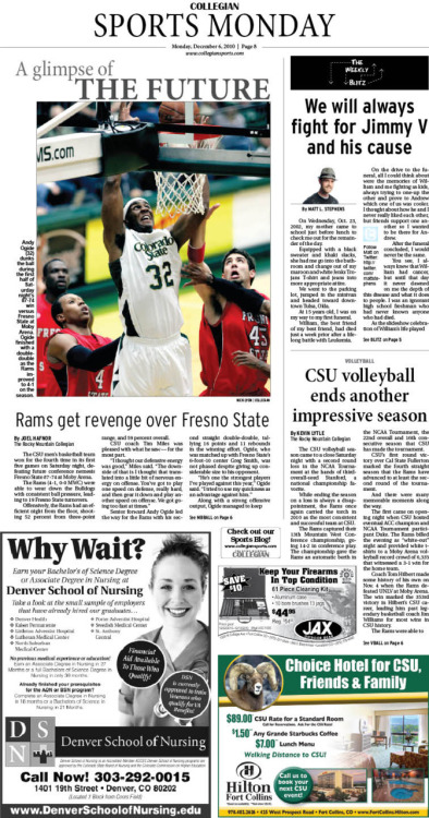 Monday, December 6, 2010. The Rocky Mountain  Collegian Sports Monday. Page designed by Design Editor Alexandra Sieh.