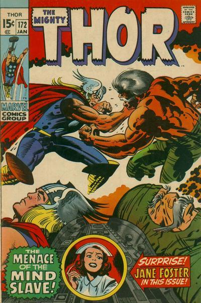 "Thor #172                January 1970""The Immortal and the Mind-Slave"" Writer:  Stan LeeArtist:  Jack KirbyInker:  Bill EverettLetters: Artie Simek Significant Events:  1st appearance of Kronin Krask Synopsis:    Thor returns to his office to find someone inside waiting for him, unable to enter through his usual window-way entry, Thor climbs his office building and changes into Donald Blake on the roof before entering his office through the main entrance. As it turns out it is Jim North, the doctor whom Jane Foster has been working with since she left Blake's employ. North has come to tell Blake that Jane is in danger and hands him a letter written by ruthless billionair Kornin Krask. The letter reads that Krask has kidnapped Jane Foster in order to force North into performing a forbidden experiment for him. After reading the letter himself, Blake inquires why Jim didn't go to the police. Jim explains that due to Krask's wealth and influence the letter would be dismissed as a hoax, and he came to Donald for help because he is the only person who knows how to contact Thor. Blake, tells Jim to leave and that he will see what he can do. Blake begins praying to is father to bring good fortune, and the thoughts reach Odin. Made curious of these thoughts the All-Father uses a visi-scan to look upon the realms that he rules over. He sees Loki, trying to rally support for some scheme, as well as Balder being cared for by Karnilla following his battle with the Thermal Man. His last look is upon the mortal visage of Kornin Krask, whom Odin feels will be no match against his son, the God of Thunder. Later on Earth, Jim North has been instructed by Donald Blake to go to the home of Kornin Krask and is admitted into the property by Krask's private army. There he is brought before Krask who brings out Jane to show that she is alive. Then, in a moment of poorly planned bravery, North pulls out a revolver and attempts to try and force Krask to turn over Jane. However, Krask's army soon train their guns on Jim and he is forced to turn over his gun. Krask explains to Jim that he intends to force him to assist Dr. Waghastein (whom Krask has also captured) to perform the first even mind transfer. Krask explains that he wants to escape mortality and cheat death. With no options available, North agrees to aid Krask's mad scheme even though it's unlikely that he'll let them live after. While back in the city, Don Blake transforms once more into Thor and rushes to Krask's private estate. Unaware that Krask had intended for Thor to get involved and his men are armed with devices that are tailored to incapacitate the Thunder God. Initially, Thor proves too strong for his attackers, however they use a special cannon that fires a hallucinogenic spray that is powerful enough to knock Thor out. As the surgery is being prepped, Jim and Jane are horrified to find that the body that Krask intends to have his mind transferred into is none other than Thor. The procedure would involve the use of a Ultra-Oscilloscope, a device that would swap the minds of two beings. With Jane's life at risk, Jim North breaks down and agrees to continue with the operation. Activating the machine the mind swapping process begins, however the minds of Krask and Thor begin a struggle half way. A struggle which Thor wins, seemingly sending Krask's mind back into his body, which then dies. Released form his hold, Thor consoles Jim and Jane, telling them that they were not at fault for what had happened and that Krask met his end thinking he could defeat the mind of an immortal. With Krask defeated, Thor leaves the two lovers behind."