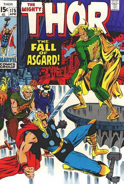 "Thor #175                April 1970""The Fall of Asgard!"" Writer:  Stan LeeArtist:  Jack KirbyInker:  Bill EverettLetters: Artie Simek Synopsis:  When a series of truck hijackings have been hitting the city, the police employ the help of Thor to round up the thieves by setting a trap for them, which with the aid of the Thunder God lands an easy capture. While in the land of the Norns, Balder and the Warriors Three have recovered from their injuries and pay their leave to Karnilla. Balder and Karnilla have another exchange about how Balder cannot give up his loyalty to Asgard and love Karnilla and the quartet depart. Haag taunts Karnilla over her softness toward Balder and is chased out of the room. Enrout back to Asgard, Balder and the others pause when they spot Mountain Giants, in the employ of Loki who are heading to attack Asgard. Spotting Loki's involvement, Balder and the Warriors Three decide it's best to contact Thor as soon as possible. Thor meanwhile has returned to the office he owns as Donald Blake, however before he can change back to his mortal guise, Thor spots Sif on a nearby roof top and joins her. Sif tells Thor that Odin has once more entered the Odinsleep and that Loki is about to amass an attack on Asgard. Thor transports himself and Sif back to Asgard, where Thor sends Sif to guard Odin while he joins the other Asgardian warriors in defending the realm. As Thor is preoccupied, Loki manages to infiltrate the palace and fight his way into Odin's sleeping chambers. When Sif and the warriors at guard inside attempt to stop Loki, Loki uses his royal heritage to order the warriors to stop fighting him and subdue Sif. As the battle rages on, Thor and the Warriors Three do their part in fighting off the Mountain Giants. However, as the battle reaches an end there is a sudden blare of trumpets signaling a call to end the battle. To everyone's surprise, Loki, now garbed in regal attire decrees that he is now in charge of all of Asgard, showing that he has removed the Imperial Ring of Asgard from Odin's hand and now wears it upon his finger. When Thor attempts to rally the people of Asgard to overthrow Loki, they cannot bring themselves to disobey Asgardian law that dictates that whomsoever wears the Imperial Ring rules the land. Thor himself decides to take on Loki on his own, however is forced to back down and claim loyalty to Loki as the Trickster God has Sif as his prisoner. Finally at victory, Loki decrees that he will spread evil across the land. This story is continued next issue…"