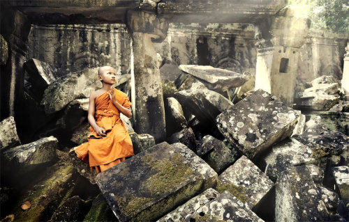 Praying Monk at Ta Phrom  Thanks sarahjune & everyone for posting this photo on Tumblr, I just create an account here & find out that my photos have been posted here many times. Thank you so much <3