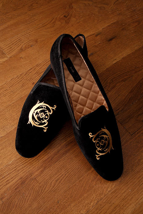 Formal slippers from… wait for it… H&M. $29.99. More info at Made to Measure NY.