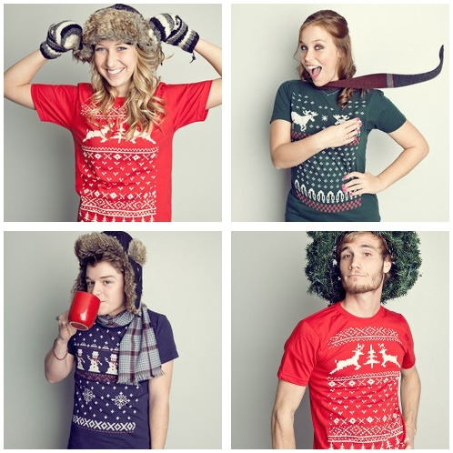 "thedailywhat:  Tee of the Day: ""Ugly Christmas Sweater Shirts"" from Vardagen. Hipsters gonna hip. [swissmiss.]   Hipsters gonna hip."