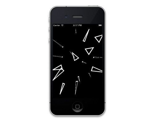 "Sharps is an interactive swarm of flying triangles for iPhone & iPad, available now on iTunes for the dangerously low price of 99 cents.  This was the first or second iPhone app I ever made, and I've been rewriting it over and over for the last two years as I keep learning more about the platform.  The ""big"" apps I'm working on during the day won't be coming out until next year so I thought it'd be fun to release something small in the meantime.  It's a very simple toy, not even a game.  All you do is touch the screen and the triangles swarm around your fingertip, but you may find it surprisingly habit-forming.  It's a digital worry stone, a stirring rod for your thoughts.  The flocking algorithm is based on the legendary Boids by Craig Reynolds, which has long fascinated me for producing very lifelike behavior with very simple rules.  It was also a great way to learn about programming animation and modeling a living simulation.  Anyway, I think it's fun so try it out!"