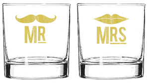 thewivesbook:  weddingwhims:  Mr. and Mrs Cocktail Glass Set  Such a cute wedding gift idea….or maybe a cute gift for myself ; )