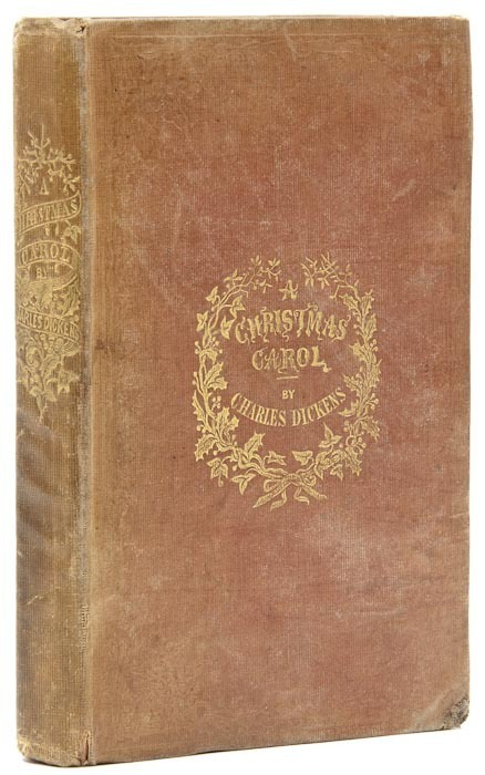 "A Christmas Carol Charles Dickens.  first edition, first issue, 1843.  First edition, first issue, half-title printed in blue, title printed in red and blue, ""Stave I"" chapter heading, hand-coloured etched frontispiece and 2 plates only of 3, lacks ""Scrooge's third visitor"", 4 textual woodcuts by W.J. Linton, final advertisements leaf, contents shaken, title-page with some slight finger soiling, browned throughout, ink inscription on half-title dated 1843, ink signature of M. Wilkins and ink stamp of Hutton on front pastedown."
