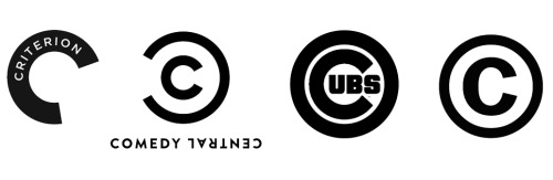 Comparisons. Disclaimer: I love the new Comedy Central logo and don't think it's a problem that it's so similar to these. That's part of its allure, especially the similarity to the copyright logo. (thanks to newwavecrashing and shorterexcerpts)