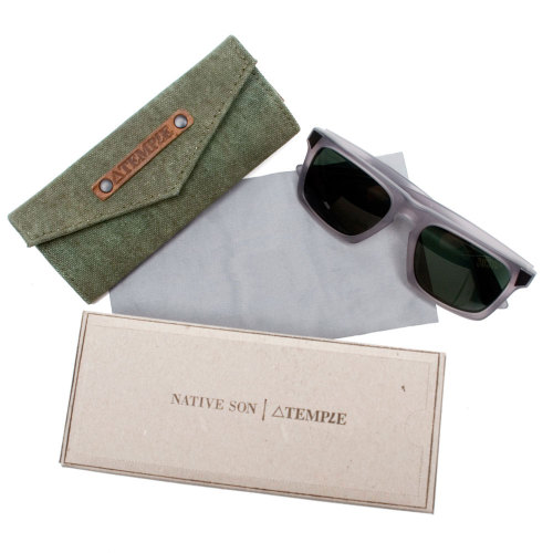 TEMPLE x NATIVE SON x MOSELY TRIBES / SUNGLASSES & CASE Talk about an all-star team.  Temple, Native Son, and Mosely Tribes have combined their talents on a great project - a pair of sunglasses with a case, available exclusively on Temple's website. The sunglasses, a design collaboration between Native Son and Mosely Tribes, are a reinterpretation of Mosely's Lyndel shades.  The frame is made using translucent, hand-molded acetate.  Temple has designed the case with repurposed WWII canvas, adding a magnetic closure and belt clip.  Here are some photos for a closer look.   The sunglasses come with gray lenses, but you can also get them with anti-reflectant clear lenses if you'd like to turn them into optical glasses.  Here's a look at the clear version.  Learn more about each company by visiting its website: Temple Bags, Native Son, Mosely Tribes. $199 You should also take a look at: