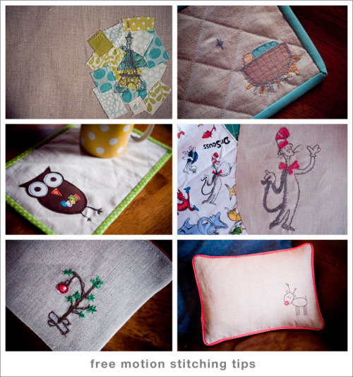 Free-motion embroidery tips… :) Yes! That rudolph pillow came to live at MY house. LUCKY me!!!