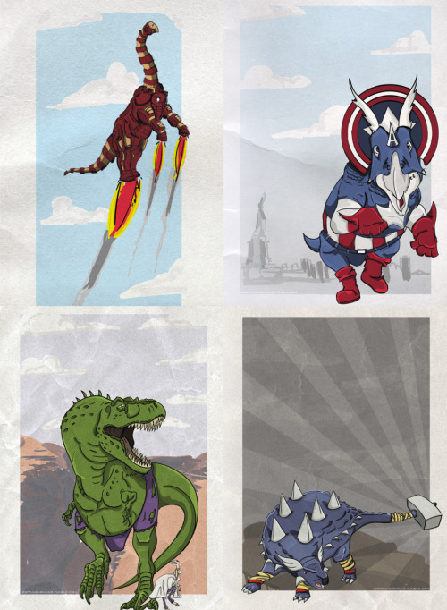 "herochan:  Make way for Iron Brontosaurus, Captain Ameritops, Hulkasaurus Rex and AnkyloTHORusin this prehistoric ""Dinosaurs meet Marvel Comics"" mash up. Marvel Dinosaurs - by d.r3sto  EPIC!"