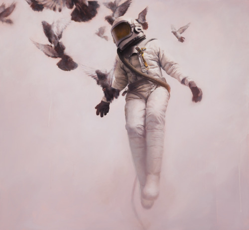 """The White Cosmonaut"" oil on board art by Jeremy Geddes"