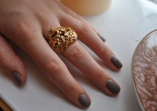 Smoke nails + a YSL ring.  Via