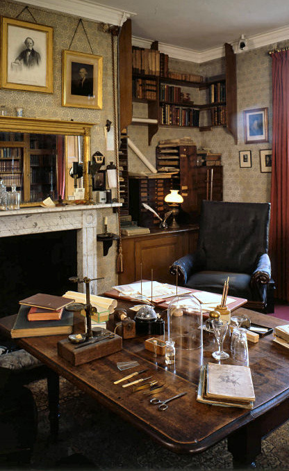 Charles Darwin's study The Pembroke table in the centre of the room was his work table and letters, papers and specimens usually cluttered the surface.