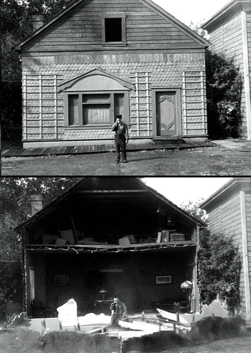 "Buster Keaton in Steamboat Bill, Jr. (1928, dir. Charles Reisner) Keaton's most famous gag occurred in Steamboat Bill, Jr., in  which the facade of a house falls on top of him & he survives because he is standing exactly where the open attic window falls. Keaton declined to rehearse the stunt before shooting the scene because, as he explained, he trusted his set-up, so why waste a wall? Excerpted from Marion Meade's Buster Keaton: ""As he stood in the studio street waiting for a building to crash on him, he noticed that some of the electricians and extras were praying. The window was just big enough to give two inches of clearance on either side. Keaton drove a nail in the ground to mark his position. When the moment came and the house front came down, he froze. The open window hit him exactly as planned. Afterward, he would call the stunt one of his greatest thrills. He said later that he did not care whether he lived or died: 'I was mad at the time, or I never would have done the thing.'"" Scene on youtube  here, entire movie online at Internet Archive here."