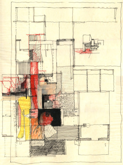 Estudio Teddy Cruz. Drawing for Casa Familiar: Living Rooms at the Border and Senior Housing with Childcare. San Ysidro, California.  via drawingarchitecture