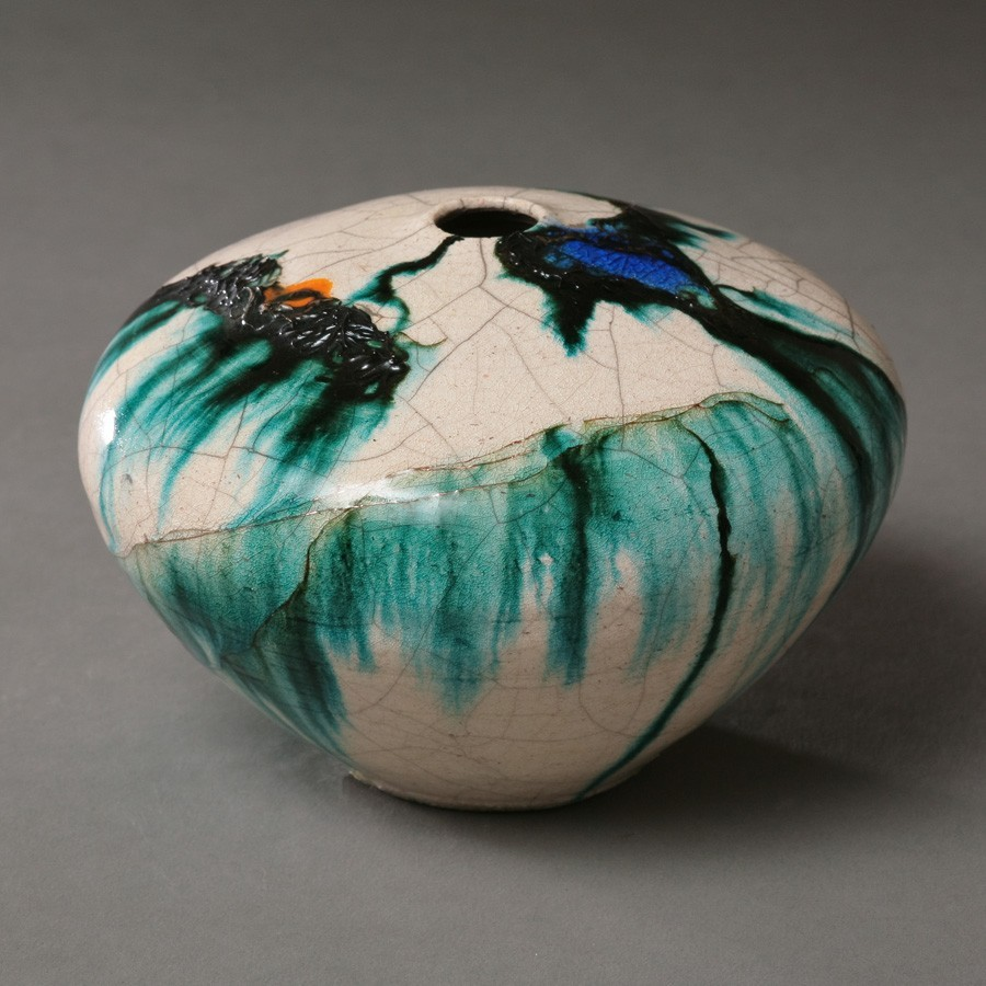 Tim Scull White Crackle And Inlaid Copper Thread