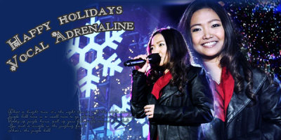 "Alright there IS reasoning for why it says ""Happy Holidays Vocal Adrenaline"". This is the CURRENT header for the Vocal Adrenaline forum on Glee Boards and it was my winning!entry as well for the Holiday Header Contest. -Sherrie"