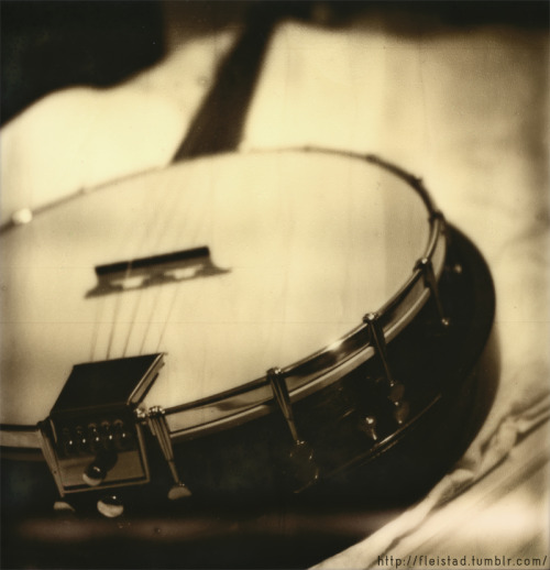 My 5 string Fender Banjo. Shot on Impossible PX-600 film.