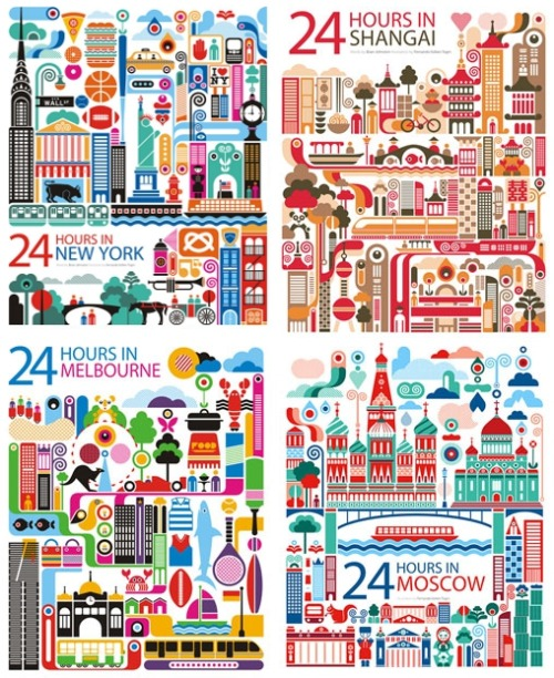 "thedailywhat:  Travel Posters of the Day: ""24 Hours In…"" by Fernando Volken Togni for Oryx Magazine/Qatar Airways. [doobybrain.]"