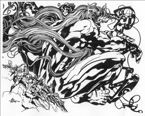 yourfriendmax:  fuckyeahkirby:  Jack Kirby's visual interpretation of God. This was one of the few pieces of his he had hanging in his house.  CARTOONISTS DON'T MAKE REAL ART YOU GUYS.  Jack Kirby's art is already a religious experience, this kicks it up a notch.