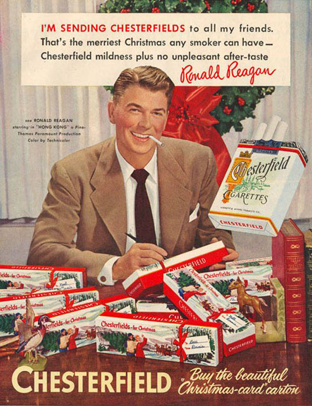 Merry Christmas from Ronald Reagan and Chesterfield Cigarettes.Ad from 1952