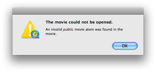 "What on earth is an ""invalid public movie atom""??????????????????"