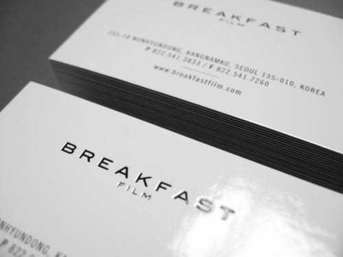 business card print for Breakfast film Inc.