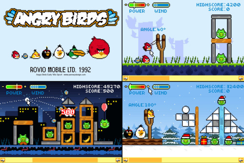 Angry Birds Early '90s SpoofFake screenshots spoofing the highly addictive mobile game 'Angry Birds' by Rovio Mobile Ltd. As a physics-based game, Angry Birds is similar to those well worn '90s games Worms and Lemmings, and lends itself well to a retro reimaging with blocky pixels.