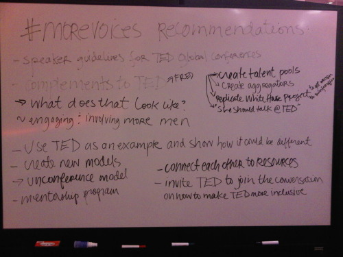 whiteboard filled with recommendations that came up during the 12/8/10 #morevoices panel.