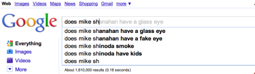 "Believe it or not, Google actually predicted what I wondered about Mike Shannahan's eye simply by typing ""Mike Sh"".  I love the Google. (BTW, @lorisays pointed this out to me.  I adore her.)"