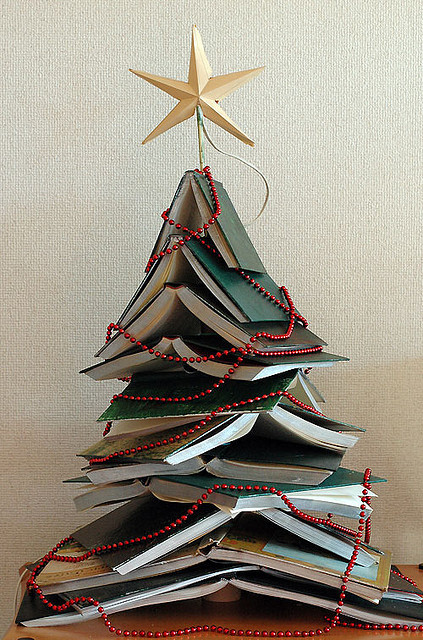tatteredcover:  A Christmas tree make of prettybooks:  (by Kristen McQuillin)