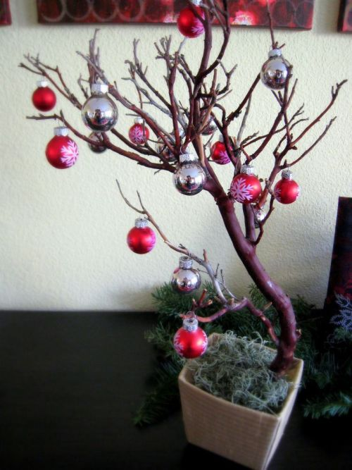 Decorating for Christmas! I gave my little manzanita trees a season-appropriate look with little ornaments I picked up last year at Target.