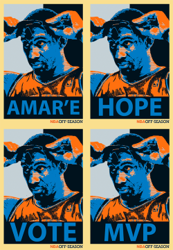 "nbaoffseason:  Hope. Savior. MVP. Amar'e. Amar'e Stoudemire came to the Big Apple with only one thing on his mind; Be the biggest thing in the biggest city in the world.  In order to King Kong his way through New York, he was going to have to bring wins, stats, and a shift in paradigm. Over the last dozen or so games, he has done just that. The Knicks stumbled out the gates to start the season to a 3-8 start. But Amar'e took ownership of this team and put the weight of Manhattan on his shoulders and has absolutely destroyed the competition while leading the Knicks to a winning record.  Sure, the Knicks haven't played the best of competition. Over the last 14 games, Only three teams had a record over .500 and New York only one 2 of those 3 games. But they can't control who they play they can only control how well they play. And New York has done just that through the leadership of Stoudemire.  THere are others who are much more deserving of the MVP award thus far in the young season. Players like Dirk Nowitzki, who has Dallas tied for 2nd place in the NBA. Or Kevin Garnett, who is having MVP type numbers on defense and has an aging Boston team atop the Eastern Conference. But Amar'e is playing in New York, the capital of all media relations. It's no secret that the MVP is a popularity contest. If Amar'e can win the hearts and minds of the New York media he can win the MVP.  During his 8-game ""MVP"" campaign, Amar'e has been putting on an offensive show. According to ESPN, Amar'e's 8 straight games of 30+ points is the 3rd longest streak of consecutive 30-PT since 2005-06. During his 8-game run he is averaging 33.9 points on 58.6% fg%, 10.9 rebounds, 3.1 assists, 1.6 blocks and 4.0 turnovers (okay, that's pretty bad). But the Knicks are 8-0 and have won 13 of their last 14 games. Currently their 16-9 record is good enough to tie Atlanta for the 4th best record out East. When Amar'e first landed in New York, fans were hopeful for some wins and maybe even a playoff birth. As the season has progressed it looks like playoffs are more than a possibility and now the idea of a home-court series at MSG is lingering in the back of everyone's mind.  Amar'e has brought a change of culture to the Garden. With that change, he is drawing the attention of fans, media and superstars from around the league. With players like Carmelo Anthony lining up to become a disciple of Black Jesus, it seems like the Mecca of Basketball is once again Holy Land.  @Suga_Shane"