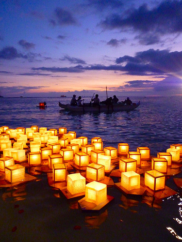 Memorial Day Japanese floating lantern festival in Ala Moana Beach Park. Oahu, Hawaii.