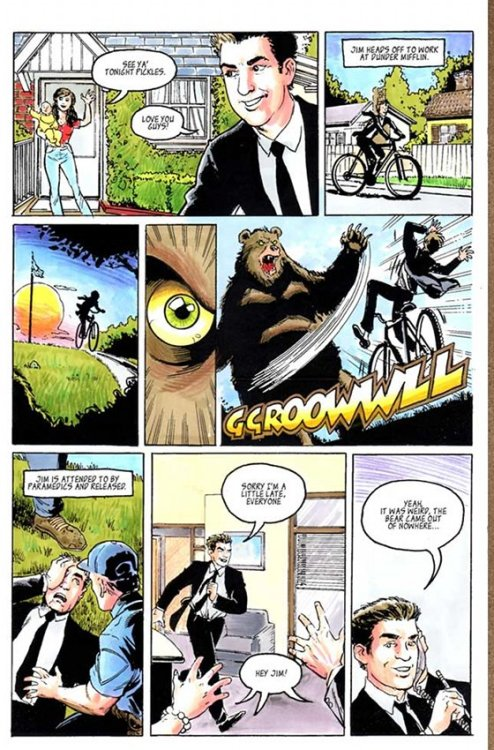 popculturebrain:  Read Pam's Comic: the Brief, Ursine Adventures of Jimmy Halpert from The Office | Vulture  I think it would be cool if Pam's artistic abilities could be vindicated somehow through comics. Yes, she failed at art school and also as a saleswoman, but what if over the next few seasons she became an indie comics artist and then when the show ends (which won't be any time soon, based on the ratings) that could be part of the sunset she rides off into. As for Jim, I think he should go back to school and become a teacher. Also, I really want to read the rest of this comic! Can you imagine how jealous Dwight will be of Jim's new bear-originated powers?