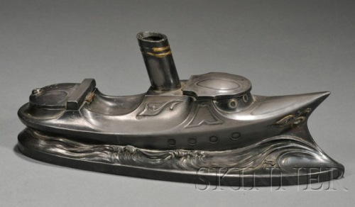 Art Nouveau-influenced steamboat inkwell; starting bid $300, estimated $600-800. via Dinosaurs & Robots