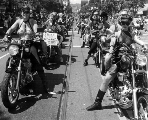 Dykes on Bikes parade, San Francisco, 1980s??