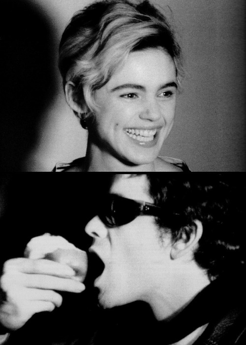 "Edie Sedgwick & Lou Reed in Andy Warhol's Screen Tests (1965-66), which were originally conceived as ""living  portraits"" (i.e. portraits  done on film rather than on canvas) &  featured silent, unbroken 3-4  minute shots of both famous &  anonymous visitors to Warhol's studio  sitting nearly motionless. Sedgwick screen test Reed screen test"