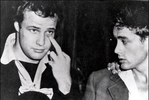 dangerrcat:  MARLON BRANDO & JAMES DEAN  Hollywood Royalty!!! Nice finger lol :)